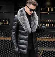 Men Warm Fox Fur Collar Leather Coat 90% Duck Down Jacket Thick Winter Outdoor
