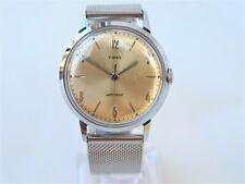 Vintage 1965 TIMEX MARLIN, serviced, gold-tone dial, chrome case