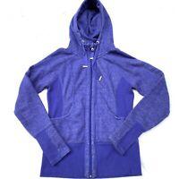 Zella Womens Purple Full Zip Thumbholes Scuba Hoodie Jacket S Space Dye Hood