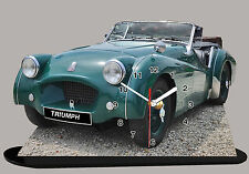 MODEL CARS, TRIUMPH TR2-01, car passenger, 11,8x 7,8 inches  with Clock