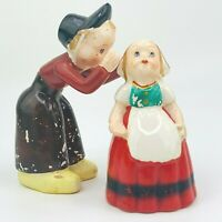 Vintage Dutch Boy Whispering to Girl Ceramic Salt Pepper Shakers JAPAN