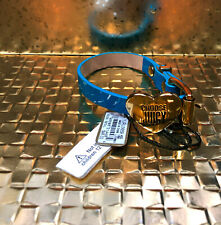 Juicy Couture Choose Juicy Blue Leather Bracelet, Gold Heart, Adjustable NWT