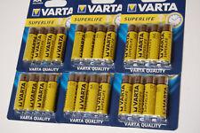 24 VARTA SUPERLIFE Batterien AA R6P Mignon 2006 Zink-Carbon 1,5V 4er MHD 08/20