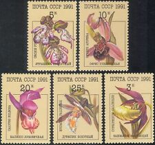 Russia 1991 Orchids/Flowers/Plants/Nature/Lady's Slipper/Bee Orchid 5v set b1190