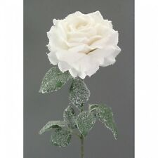 Artificiales Rosa con Nieve Artificial 68cm blanco