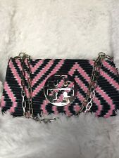 💞Tory Burch Reva Limited Ed Chevron Fold Over Clutch Hand/Shoulder Bag Chain💗