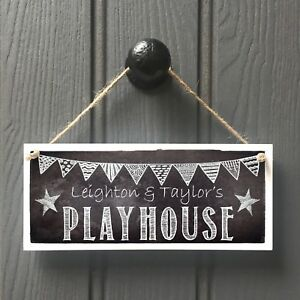 Playhouse Door Sign - Childs Handmade Kids Chalkboard Playhouse Sign Personalise