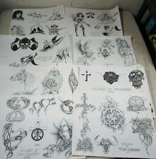 8 Vintage 1980's/90's Tom Donovan Tattoo Flash Art Sheets B&W