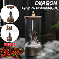 Dragon Backflow Incense Burner Ceramic Glass Tower Buddha Decoration Holder ❤