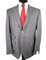 Luigi Bianchi Mantova Zegna Fabric NWT Suit Size 40R In Gray With Bold Red Plaid