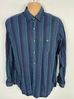 MENS LACOSTE SIZE 42 LARGE BLUE MULTI STRIPED SMART CASUAL LONG SLEEVED SHIRT