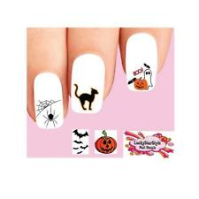Waterslide Nail Decals Set of 20 - Halloween Ghost Bats Pumpkin & Spider Web #1