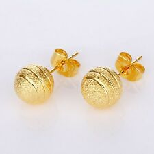 Women's Bead Earstud 18k Yellow Gold Filled Earrings New Fashion Hoops Jewelry