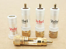 New 2 pair REBEL rose gold plated  8.3mm RCA signal cable wire plug connector