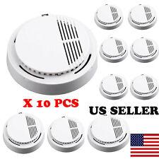 Lot 10pcs Fire Smoke Sensor Detector Alarm Tester Home Security White BP