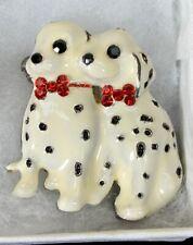 Vintage White Black Spots 2 Dalmatian Puppies Pin Red Rhinestone Collar
