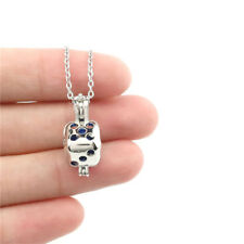 """K779 Chain 18"""" Sliver Dice Charm Cage Locket Necklace"""
