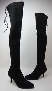 Stuart Weitzman Women's Tiemodel Over The Knee Black Stretch Suede Boots NEW!!