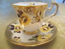 Vintage Elizabethan English Bone China Teacup/Saucer -Heavy Gold & Yellow Flower