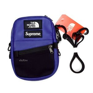 NWT Supreme The North Face Royal Blue Leather Box Logo Shoulder Bag DS AUTHENTIC