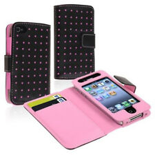 Pink Dot PU Leather Card Holder Wallet Case Cover Pouch For iPhone 4 4S 4Gen