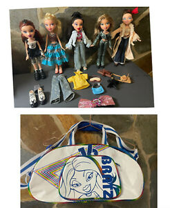 Bratz doll bundle lot 5x dolls with clothes/accessories 2001 MGA With Bag