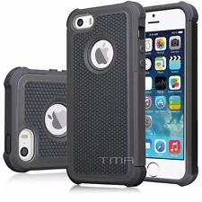 iPhone SE 5 5S Hybrid Impact Shock Proof Rugged Hard Shell Case Cover - Black