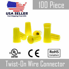 100 Pc Yellow Twist On Wire Nut Connector 18 12 Gauge Barrel Conical Screw Usa