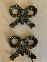 Vintage Decorative Antiqued Bronze Wrought Iron Metal Ribbon Bow Hooks Set Of 2