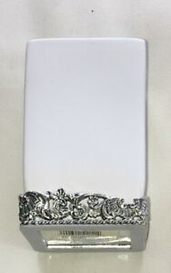 Simply Shabby Chic White Ceramic w/Silver Metallic Trim Toothbrush Holder Exc