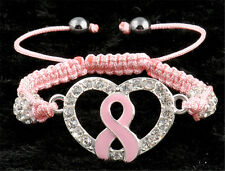 Fashion Charm Love Heart Pink Ribbon Breast Cancer Awareness Bracelet Jewelry