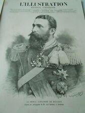 Gravure 1885 - Le Pince Alexandre de Bulgarie