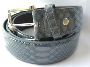 High Quality Men Faux Alligator Crocodile Snake Skin Faux Leather Stitched Belt