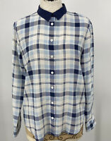 Equipment Femme Women's Top Silk Plaid Button Down Blouse Blue White Size Small