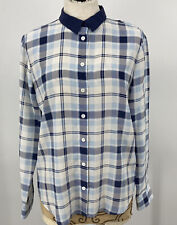 Equipment Femme Women's Top Silk Plaid Button Down Blouse Blue White Size Small