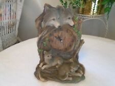 Rustic Carved Wood Look Resin 4 Wolves Wolf Clock Table Desk Mantel Dwk Look