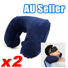 2x Portable Inflatable U Shaped Travel Neck Pillow Car Flight Head Rest Cushion