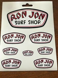SHEET OF 8 RON JON SURF SHOP STICKER DECAL