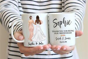 Personalised Thank You Bridesmaid, Maid of Honour Mug and Card Gift Set
