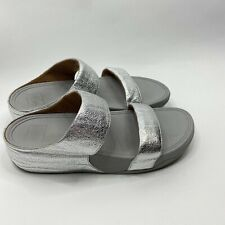 FitFlop Shoes Size 8 Womens Silver Lulu Superglitz Slide Double Crossover Sandal