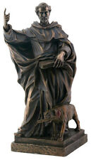 """NEW! 8"""" Bronze Color Saint Dominic with Dog Burning Torch Statue Figurine Gift"""