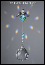 m/w Swarovski 20mm Ball Angel Pewter Wings Aqua SunCatcher Lilli Heart Designs
