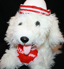 Prettique DOG I Love You Red Heart Valentines White PlushBow Stuffed Sailor Hat
