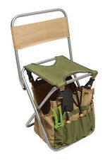 5 Piece Garden Tool Kit With Folding Seat with back rest Bag Pruner Set  Stool