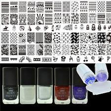 4x Nagel Kunst Stamping Platte Schablone & 5x 6ml Stempellack & Stempel Set