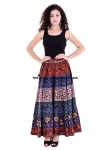 Indien Mandala Imprimé Rapron Coton Imprimé Femme Jupe Longue Hippie Robe