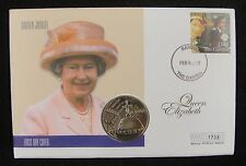 Solomon Coin and Gambia Stamp First Day Cover, Queen's Golden Jubilee