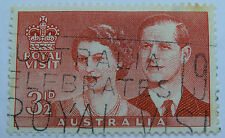 Postage Stamp Australia Pre-Dec 1954 Royal Visit Queen & Duke Red 3 1/2d 37