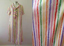 Vintage 70s Candy Stripe Nylon Shirt Dress Medium Buy 3+ items for Free Post