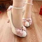 Handmade Women Pretty Pearl White Champagne Ribbon Bridal Shoe High Heels Au